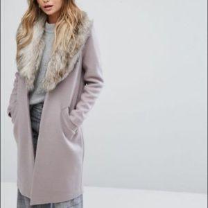 River Island Detachable Fur Collar Coat